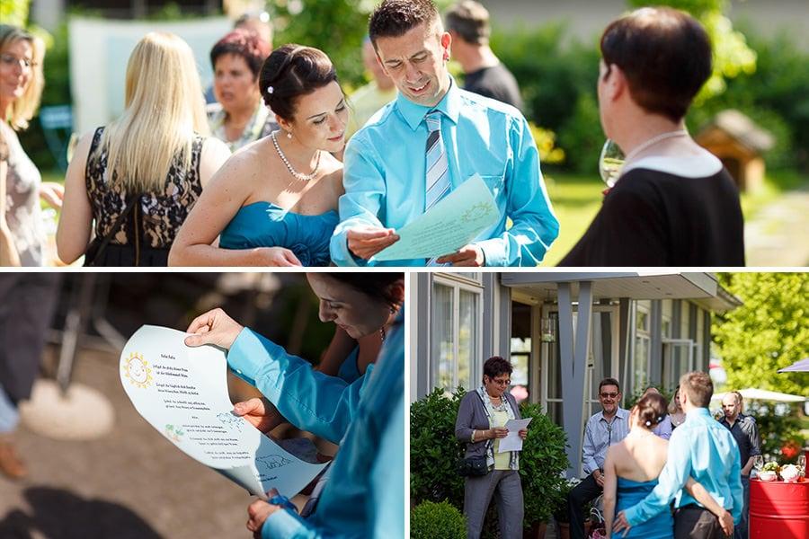 Bräutigam liest etwas vor