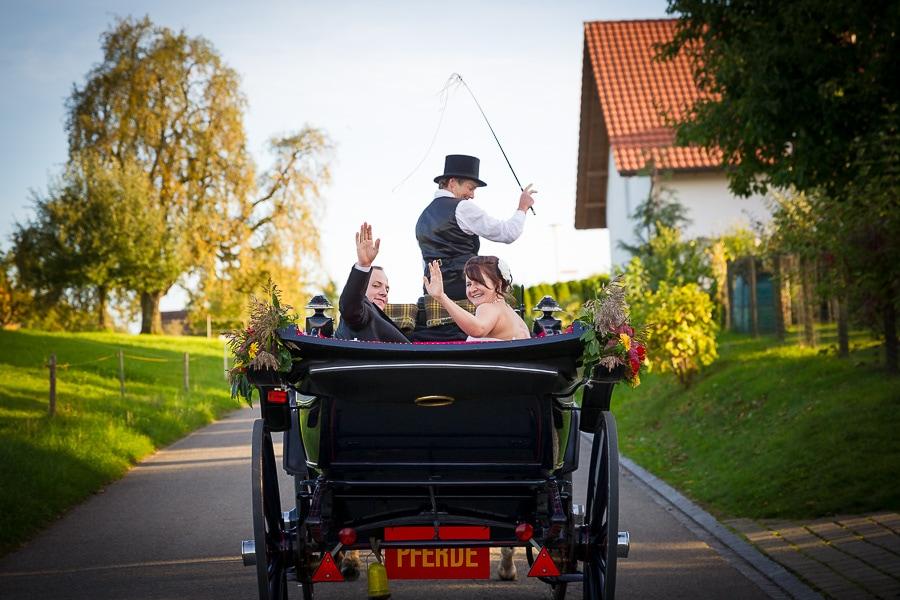 Pferdekutsche von hinten mit Brautpaar
