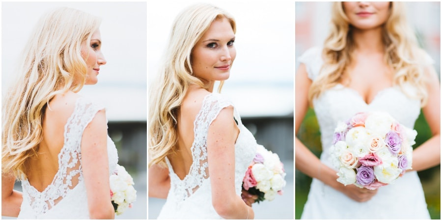 Brautkleid einer blonden Braut