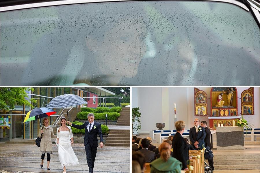 Brautvater rennt mit Braut und Schirm